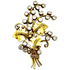 Arts & Crafts Period Edward Oaks Diamond Floral Spray Gold Brooch