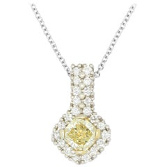 0.56 Carat Princess Yellow Diamond Pendant