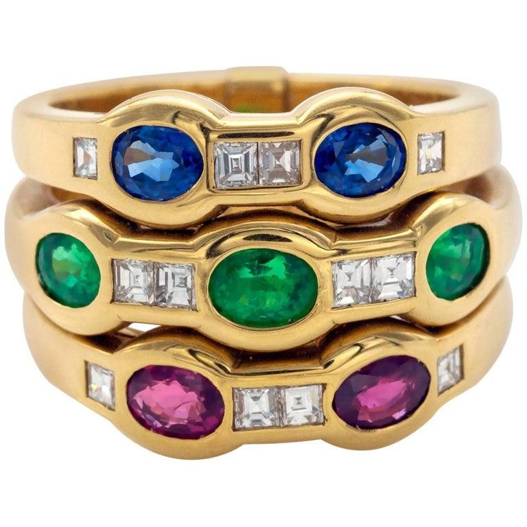 Sapphire Emerald Ruby Diamond Band Ring