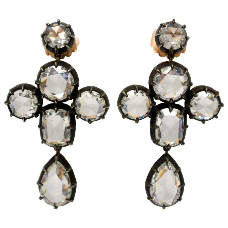 Grandeur-Victorian 19.42 Carat Total Weight, Chandelier Earrings