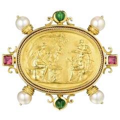 Stunning 18 Karat Gold Seidengang Pearl Gemstone Brooch Pin Pendant