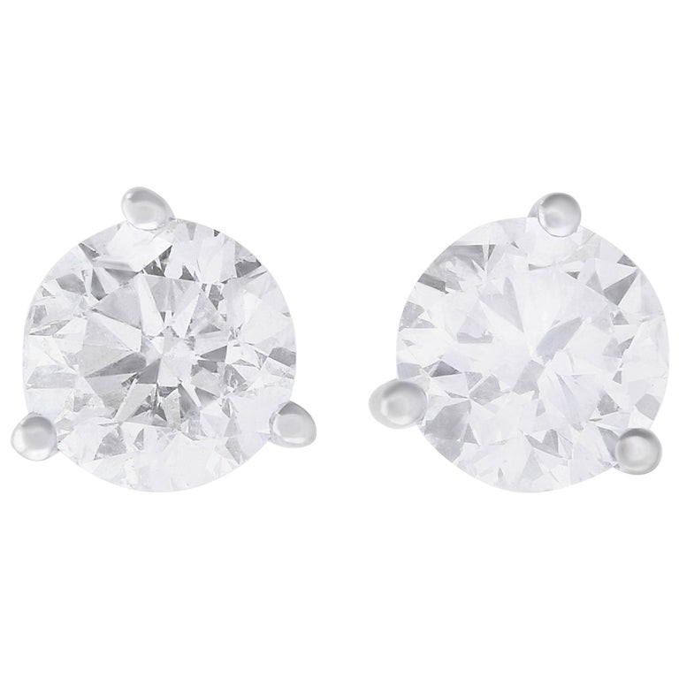 1.51 Carat Brilliant Round Diamond Stud Earring
