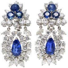 Ceylon No Heat Blue Sapphire and Diamond Ear Pendants