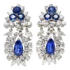 Ceylon No Heat Blue Sapphire and Diamond Ear Pendants