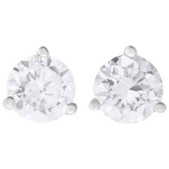 1.05 Carat Brilliant Round Diamond Stud Earring