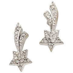 14 Karat White Gold .50 Carat Diamond Shooting Star Stud Earrings