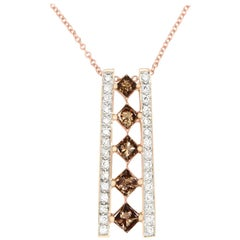 0.86 Carat Natural Cognac Color Diamond and 0.21 Carat Diamond Pendant