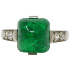 Antique Art Deco Ring with Columbia No Oil Emerald and Diamonds