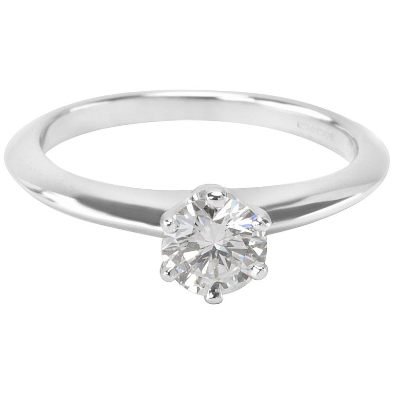 Tiffany & Co. Diamond Solitaire Engagement Ring in Platinum 0.42 Carat For Sale