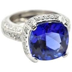 9.00 Carat Tanzanite and 1.65 Carat of Diamonds Platinum Ring
