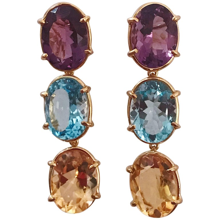 Elegant Three-Stone Drop Earring with Amethyst and Blue Topaz and Citrine For Sale