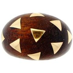 Vintage Midcentury Van Cleef & Arpels 18 Karat Gold Wood Bombe Ring