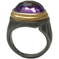 5.84 Carat Amethyst Cocktail Ring in 18 Karat Yellow Gold and Sterling Silver