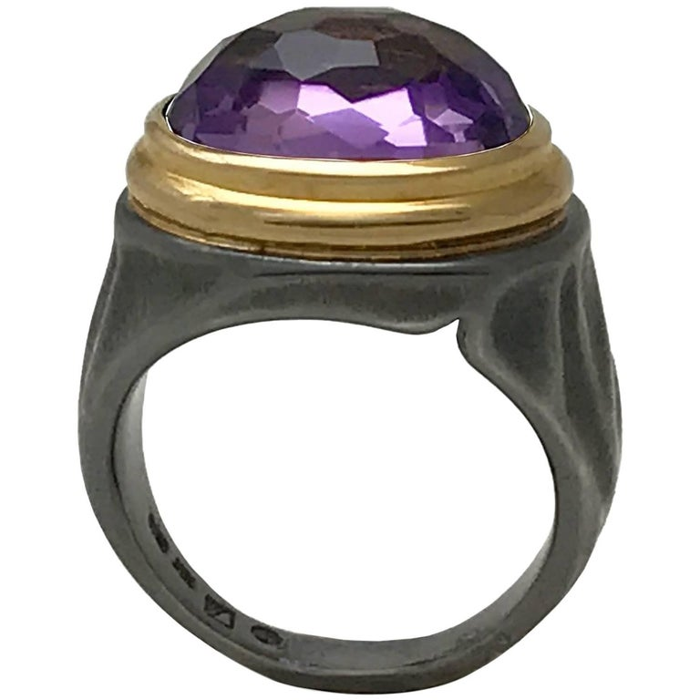 5.84 Carat Amethyst Cocktail Ring in 18 Karat Yellow Gold and Sterling Silver.