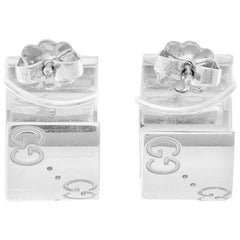 Gucci 18 Karat White Gold Small Hoop Earrings