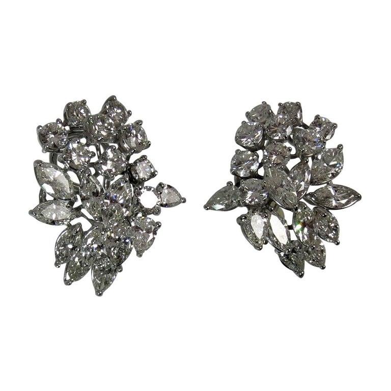 Diamond Platinum Cluster Design Ear Clips