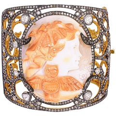 One of a Kind Shell Cameo and Diamond Bangle Bracelet