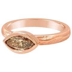 18 Karat Pink Gold Bridal Ring with 0.51 Carat Marquise Shaped Brown Diamond