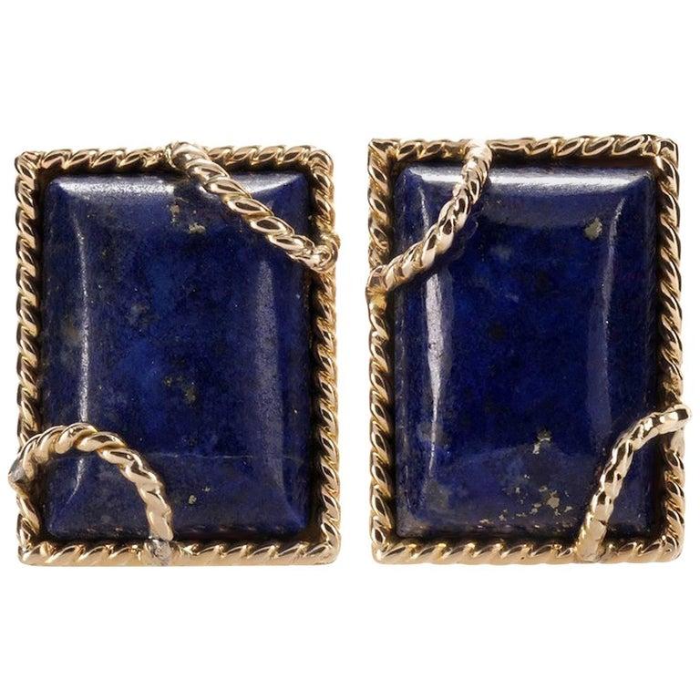 David Webb Lapis Lazuli Yellow Gold Clip-On Earrings