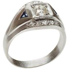1940s Diamond Blue Sapphire White Gold Unisex Ring