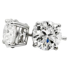 2.02 Carat Diamond Stud Earrings in 14 Karat White Gold