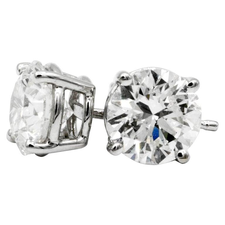 2.02 Carat Diamond Stud Earrings in 14 Karat White Gold