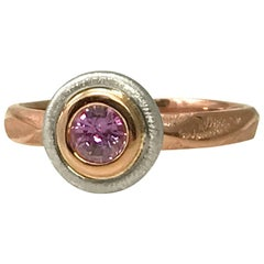 18 Karat Rose Gold Bridal Ring 0.46 Carat Purple Sapphire in 18 Karat White Gold
