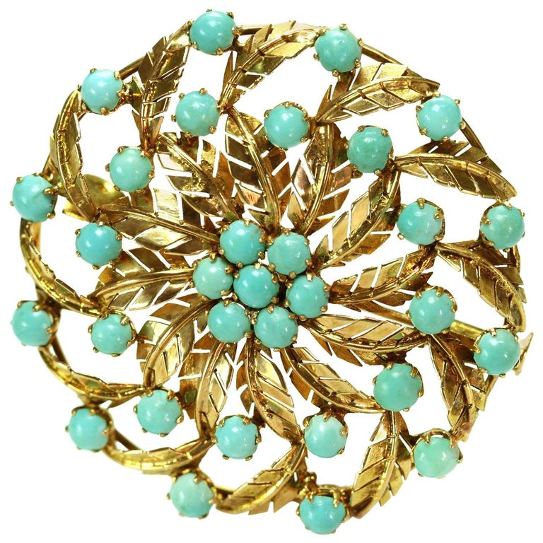 1940s Persian Turquoise Yellow Gold Round Leaf Brooch