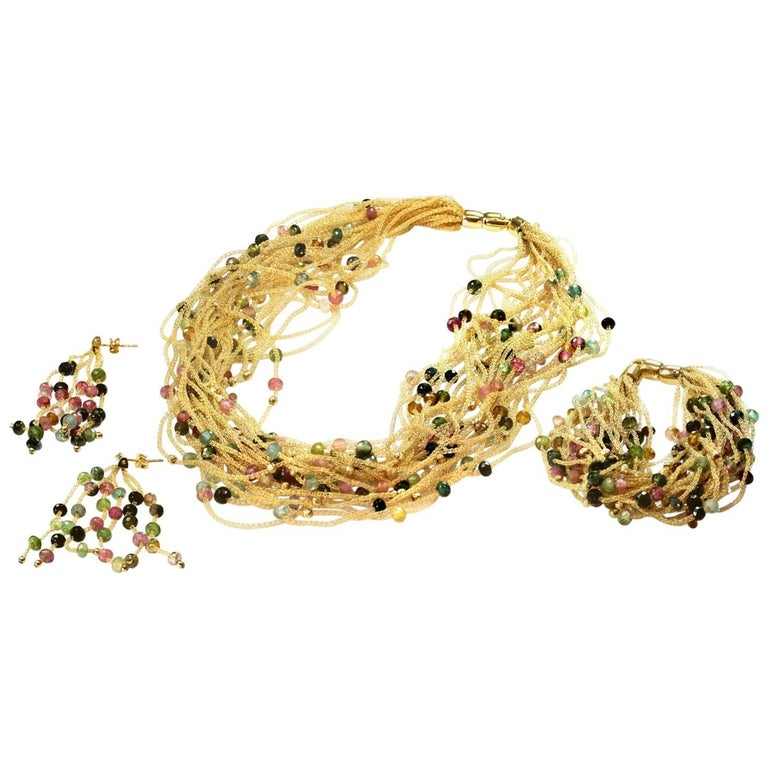 Multi-Color Gemstone Yellow Gold Bracelet Necklace and Earrings Set