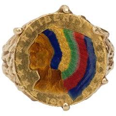 American Indian Liberty 22 Karat Enamel Coin Yellow Gold Men's Ring
