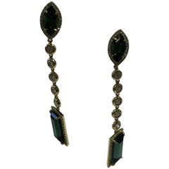 Green Tourmaline and White Diamond Dangle Earrings in 18 Karat Yellow Gold