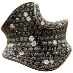 Fancy Black White Diamond Gold Cocktail Ring