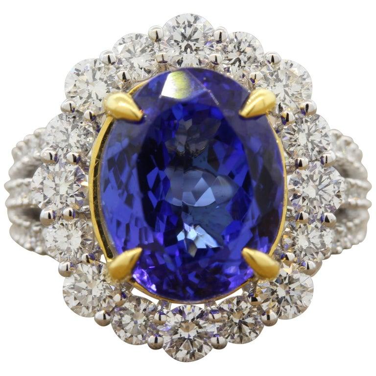 Tanzanite Diamond Halo Gold Ring