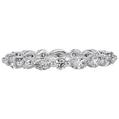 Mark Broumand 1.00 Carat Marquise and Round Brilliant Cut Diamond Eternity Band