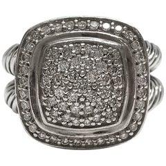David Yurman Albion Sterling Silver Pave Diamond Ring