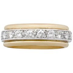 Vintage French 1.00 Carat Diamond 18 Karat Gold Platinum Set Eternity Ring
