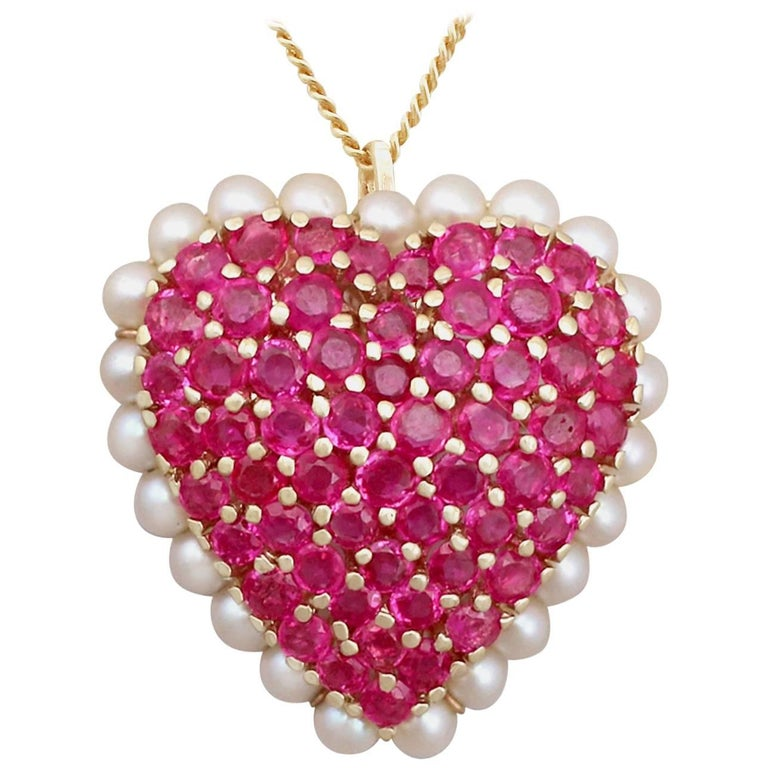 3.36 Carat Ruby and Seed Pearl, Yellow Gold 'Heart' Pendant or Brooch