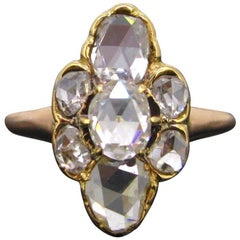 Victorian Rose Cut Diamond Marquise Engagement Ring Band, Rose Yellow Gold