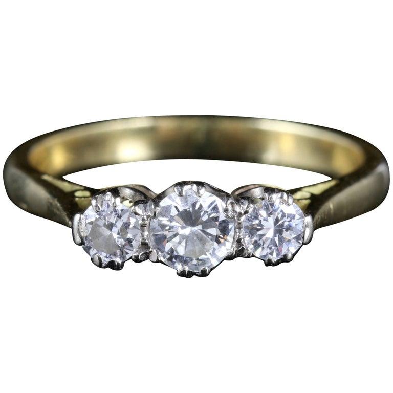 Antique Edwardian Diamond Trilogy Ring 18 Carat Plat, circa 1915