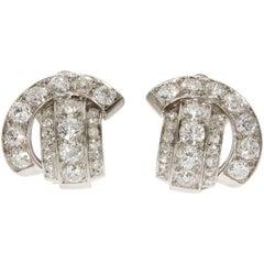 Art Deco René Boivin Certified Francoise Cailles Diamond Platinum Earclips