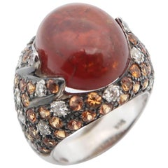 Cabochon Spessartite Spessartine Garnet Diamond Orange Sapphire Gold Pinky Ring