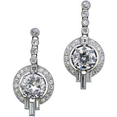Art Deco Diamond Round Baguette Dangle Earrings White Gold and Platinum