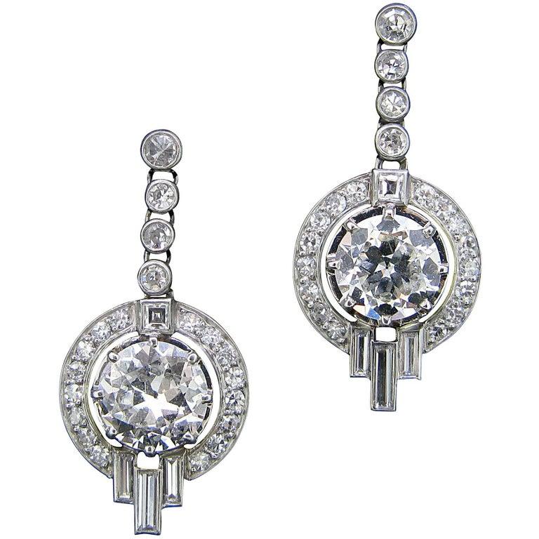 Art Deco Diamond Round Baguette Dangle Earrings White Gold and Platinum
