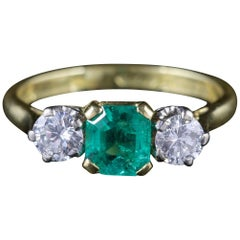 Antique Victorian Emerald Ring Diamond Trilogy Ring, circa 1900