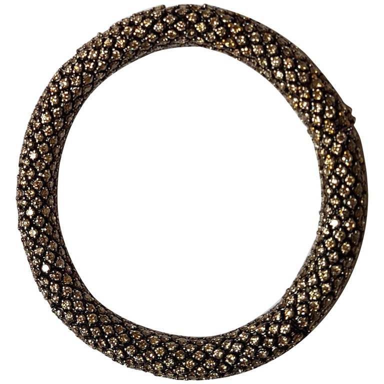 Brown Diamond White Gold Flexible Bracelet For Sale