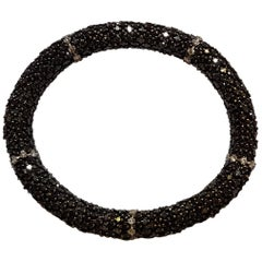 Black Diamond White Gold Flexible Bracelet