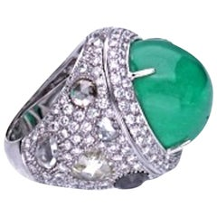 23.96 Carat Cabochon Emerald Diamond 18 Kt. White Gold Cocktail Ring