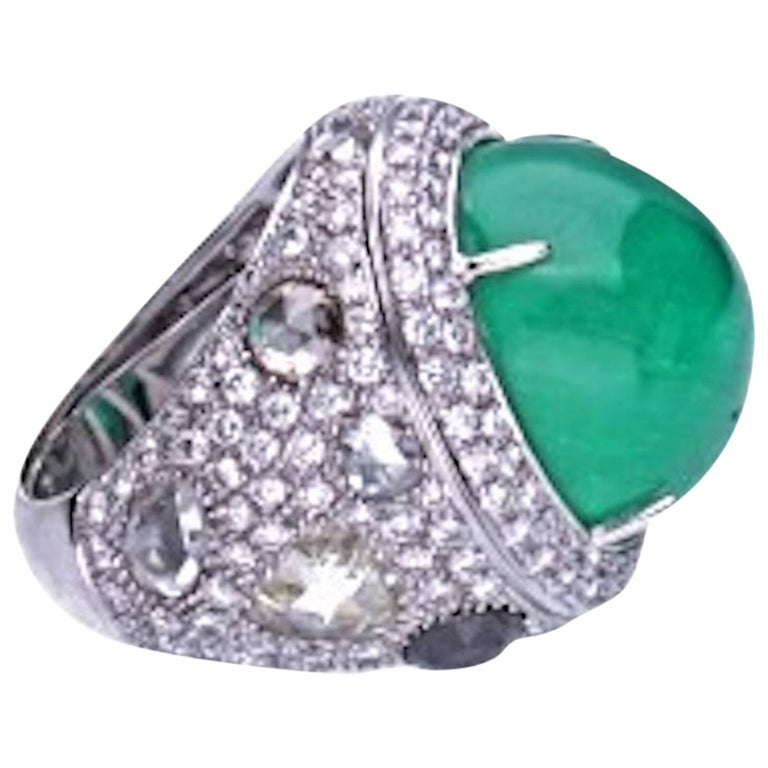 23.96 Carat Cabochon Emerald Cocktail Ring For Sale