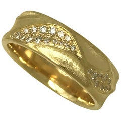 Eternal Dune Band Wedding Ring in 18 Karat Yellow Gold with 0.51 Carat Diamonds