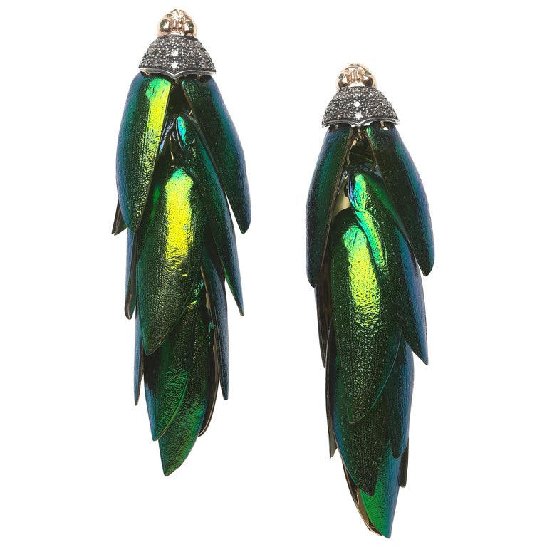 18k Yellow Gold and Sterling Silver Scarab Wing Bunch Earrings